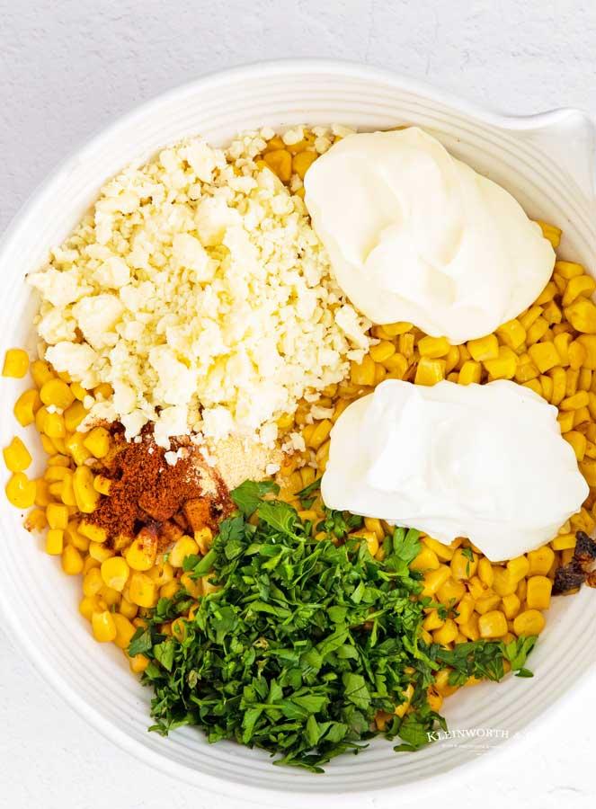 ingredients for Elote Street Corn Dip