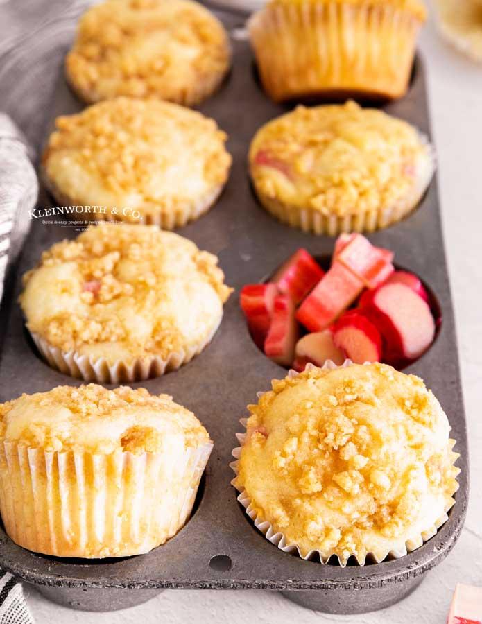Rhubarb Muffins in pan