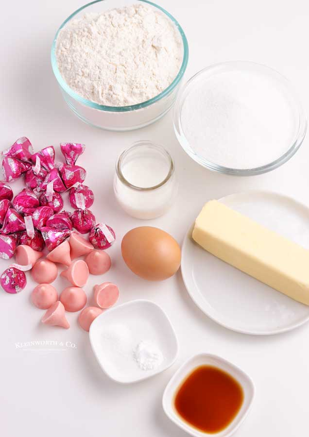 ingredients for Strawberry Kiss Cookies