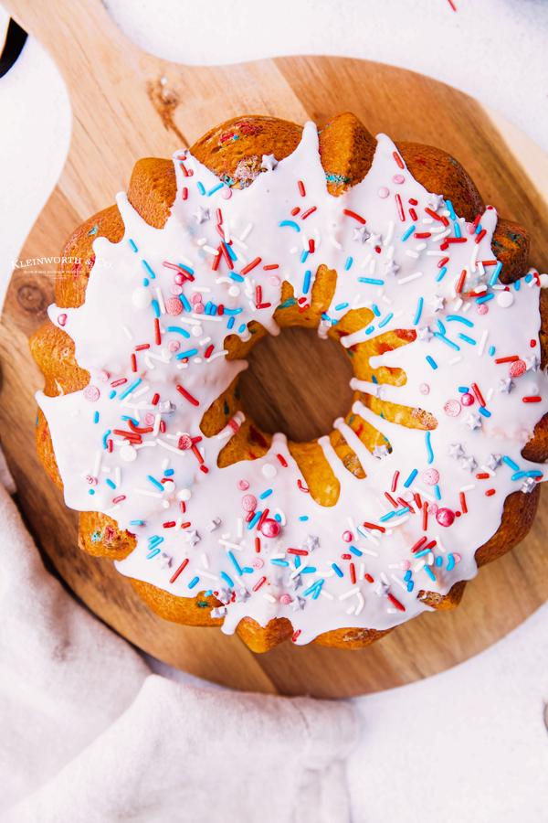 sprinkled red white and blue cake