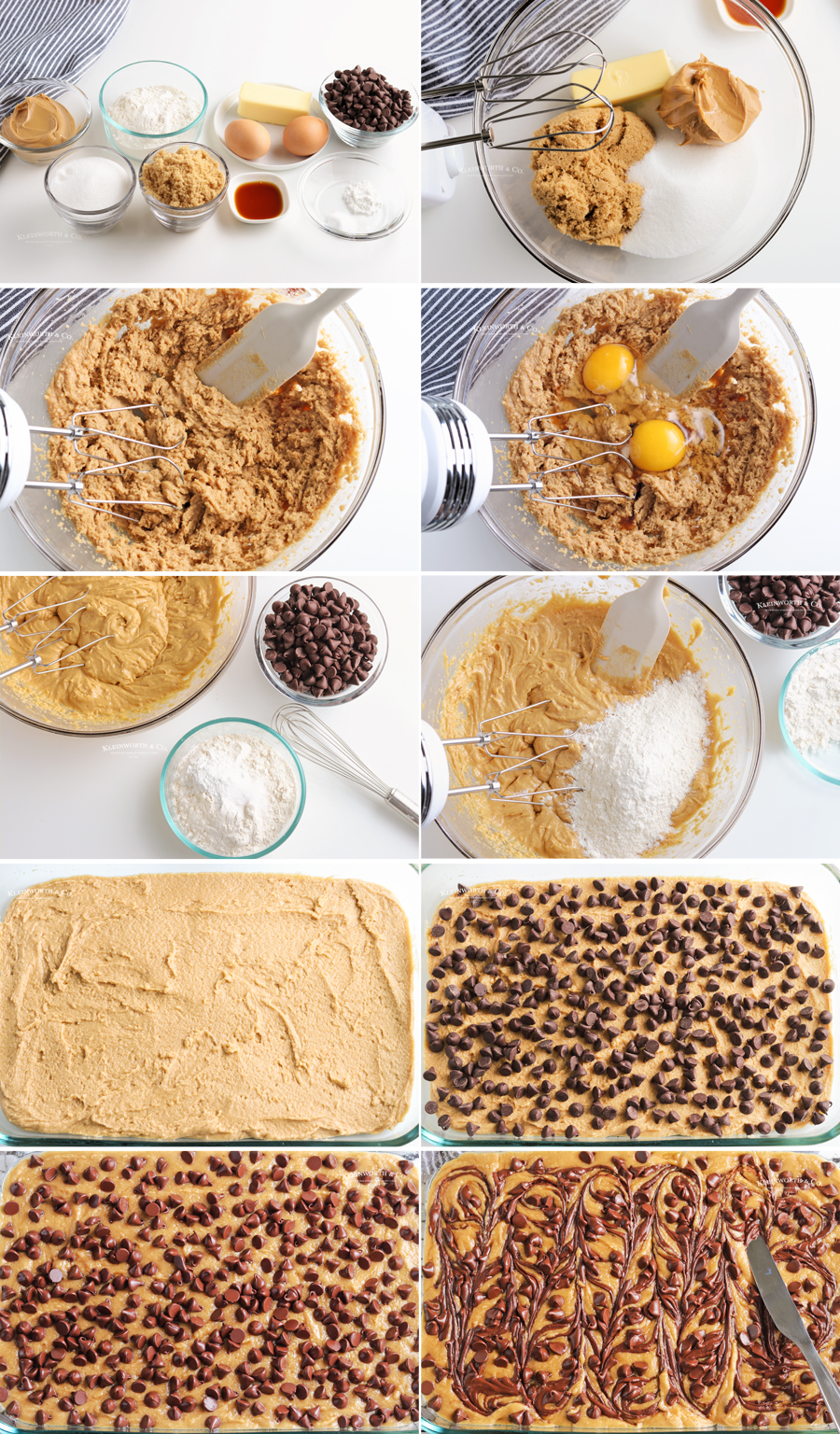 how to make Chocolate Chip Peanut Butter Cookie Bars