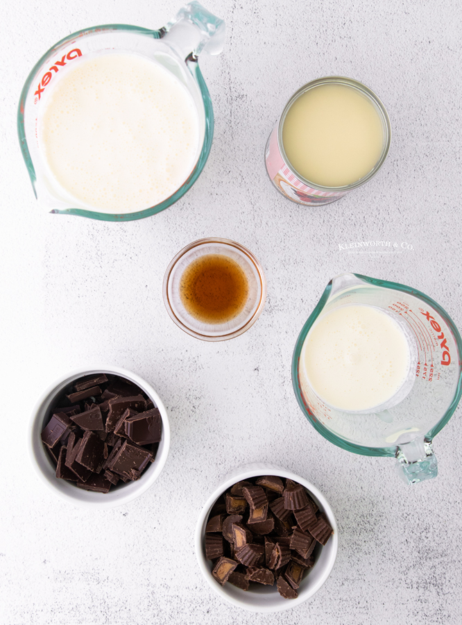 ingredients for Moose Tracks Ice Cream