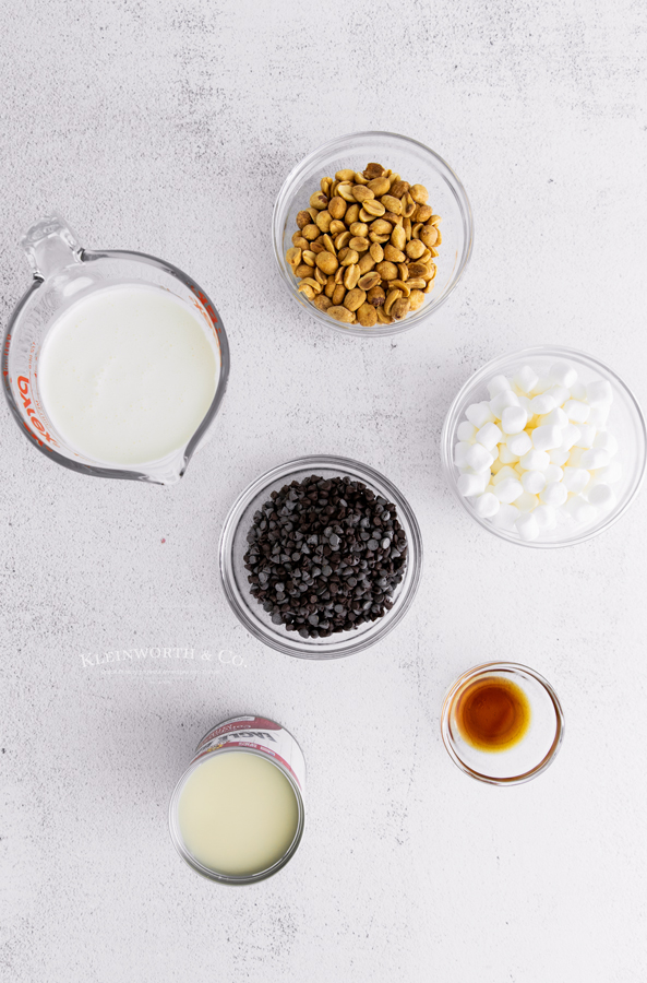 ingredients for no-churn Rocky Road Ice Cream