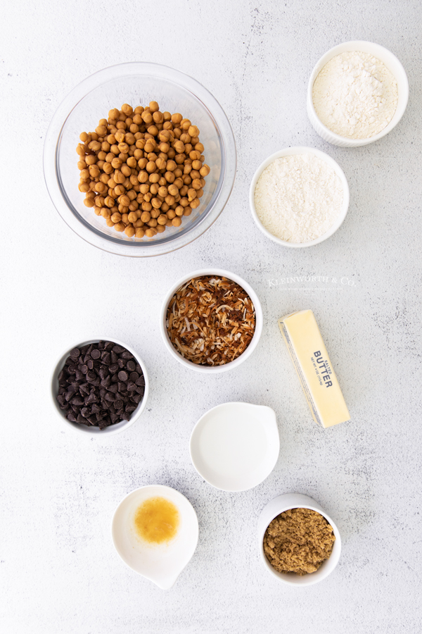 ingredients for Samoa Cookie Bars