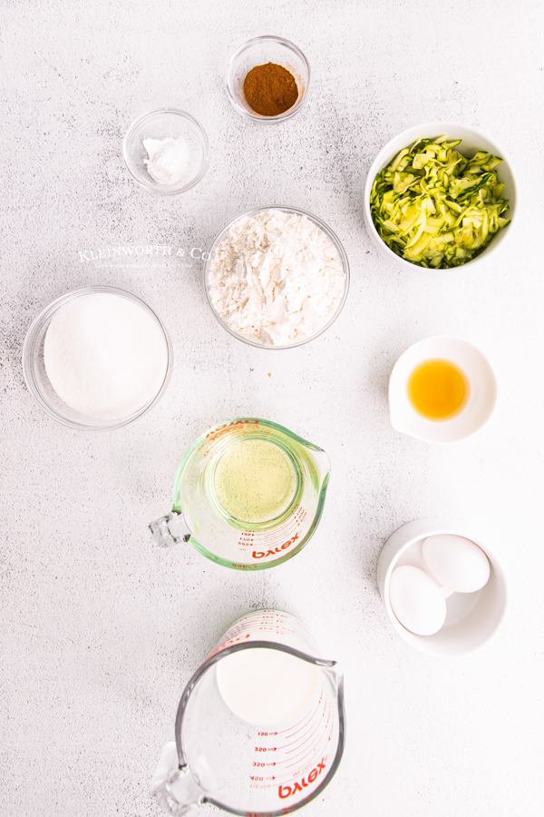 ingredients for Zucchini Cupcakes