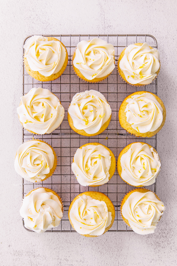 set of frosted lemon cupcakes