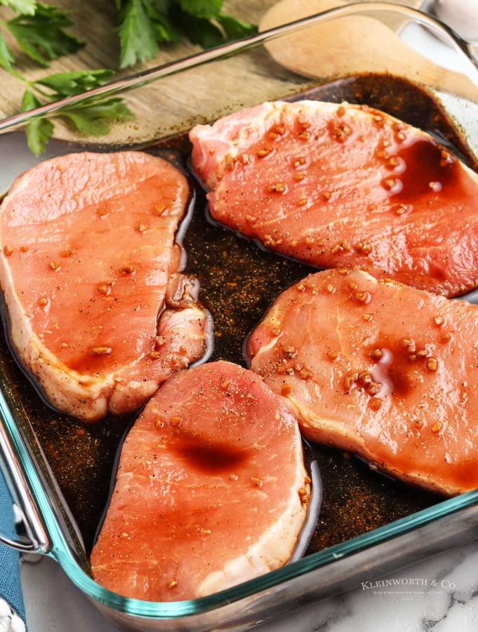 pork chops in the marinade