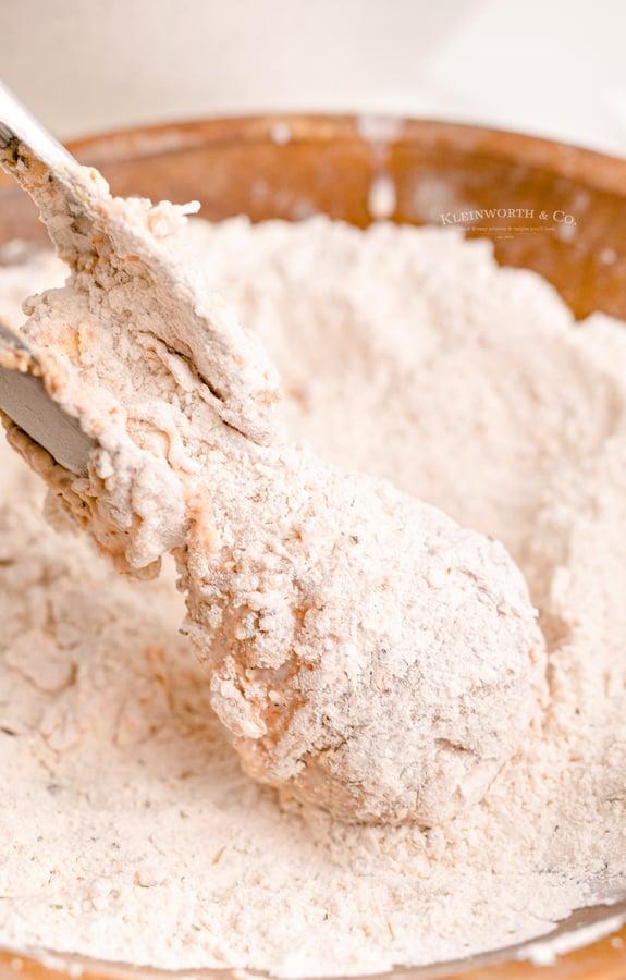 flour coated drumstick