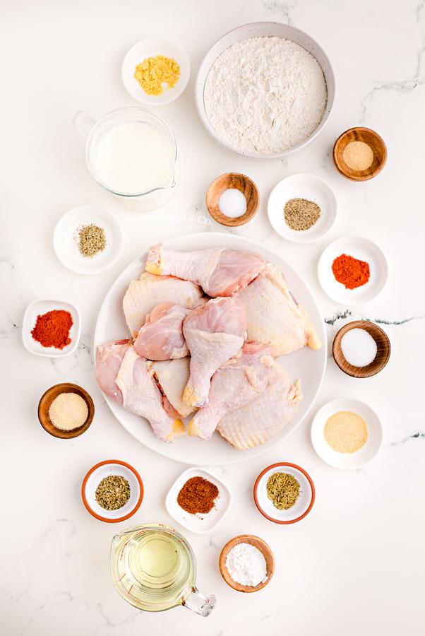 ingredients for Buttermilk Fried Chicken