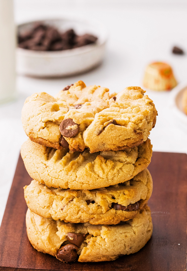 chewy peanut butter stuffed cookies