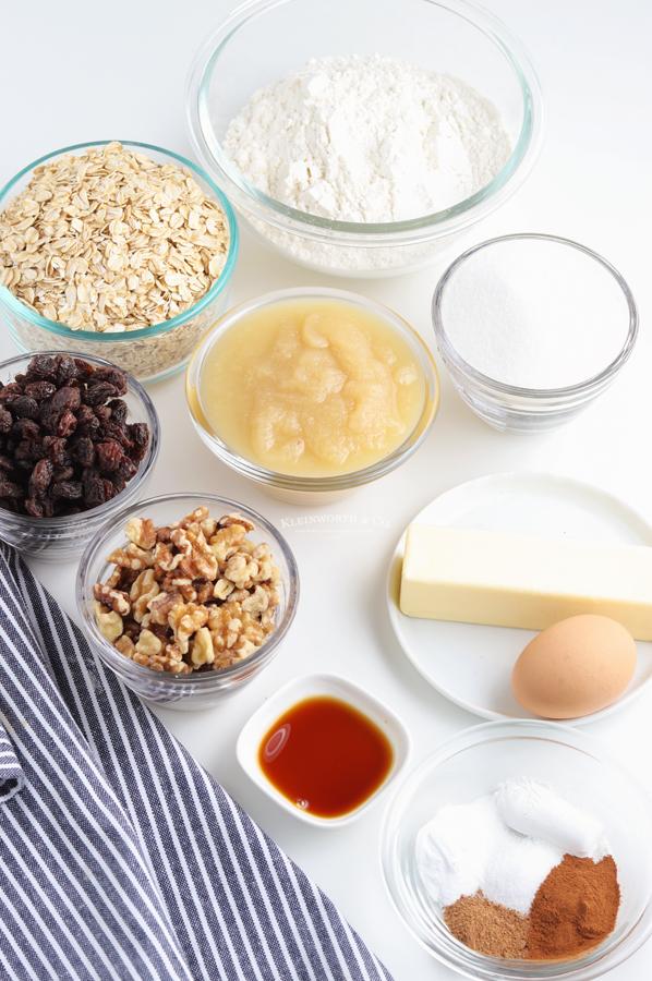 ingredients for Applesauce Oatmeal Cookies