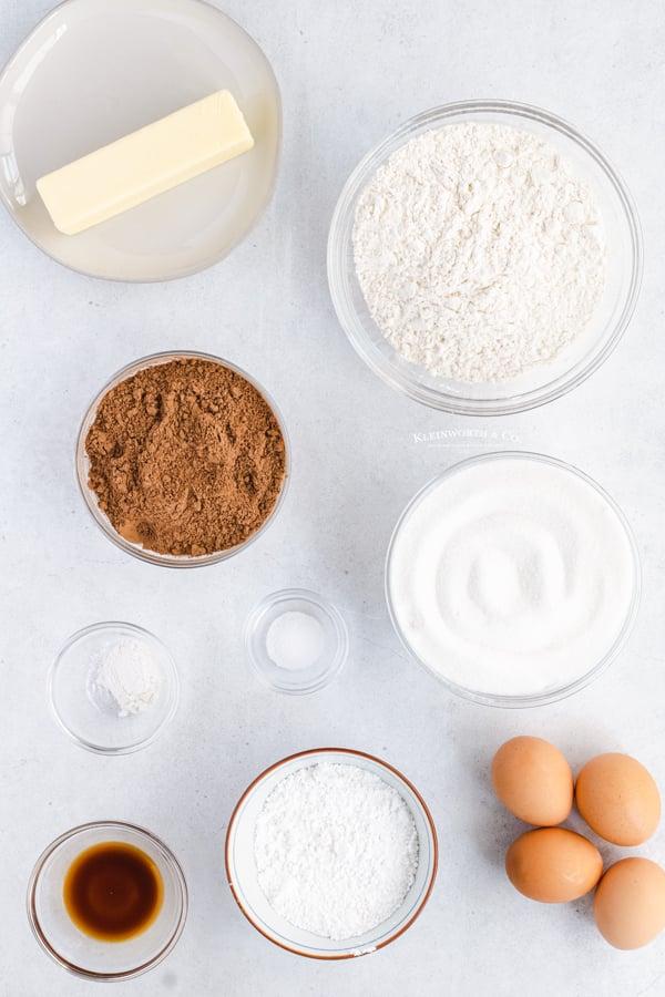 ingredients to make Chocolate Crinkle Cookies