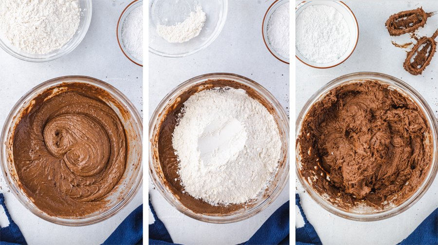 mixing Chocolate Crinkle Cookies