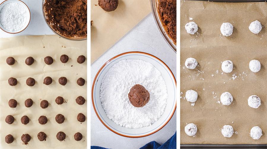 rolling Chocolate Crinkle Cookies