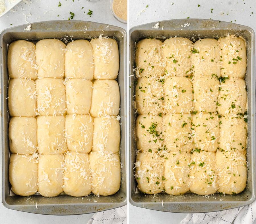 30 min rolls - adding garlic and herbs