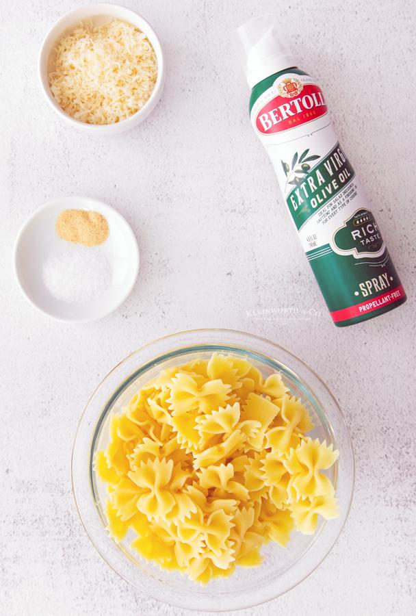 ingredients for Garlic Parmesan Pasta Chips