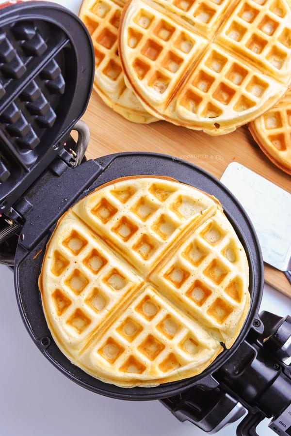cooked waffle on waffle iron