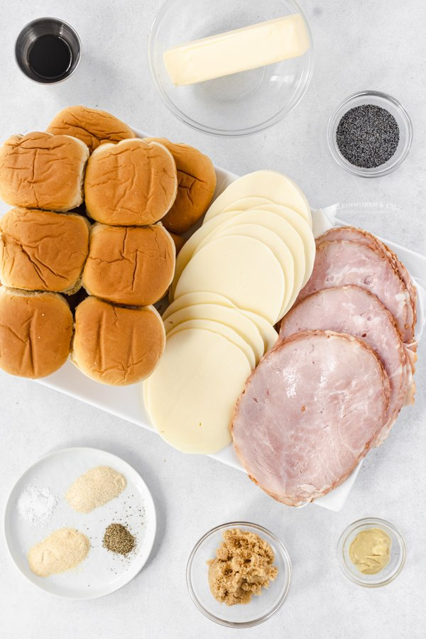 ingredients for Poppy Seed Ham and Cheese Sliders