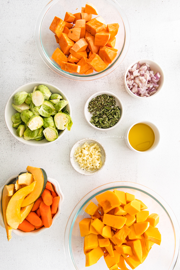 ingredients for Roasted Fall Vegetables
