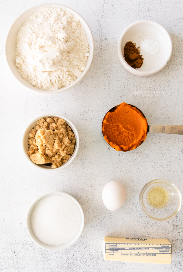 ingredients for Soft Pumpkin Cookies with Cream Cheese Frosting