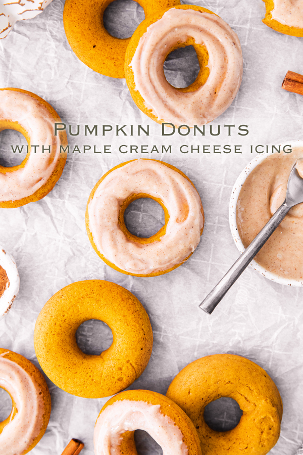 Baked Pumpkin Donuts with Maple Cream Cheese Icing