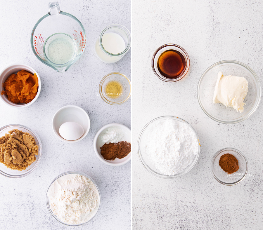 ingredients for Baked Pumpkin Donuts with Maple Cream Cheese Icing