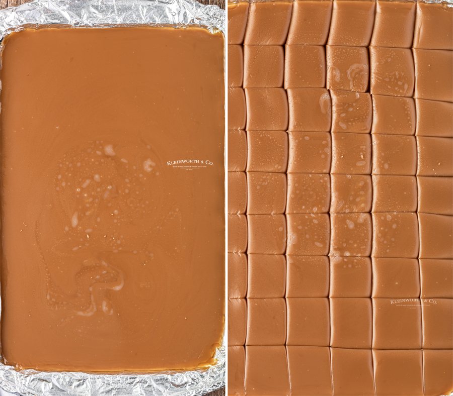 poured and cut caramel