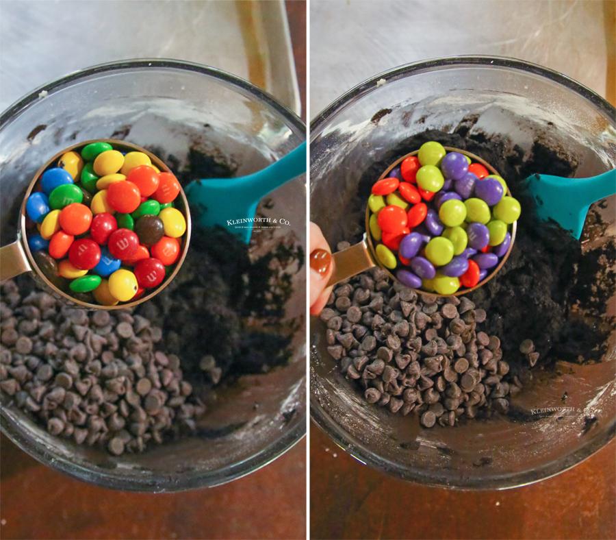 Adding M&M's to chocolate cookies