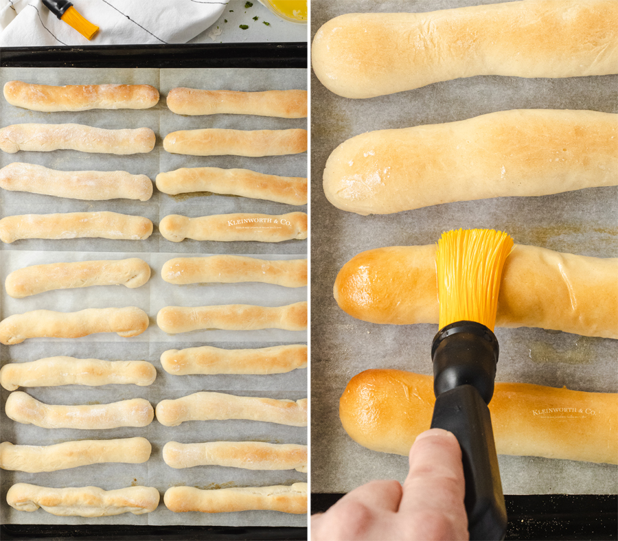 baked breadsticks with butter