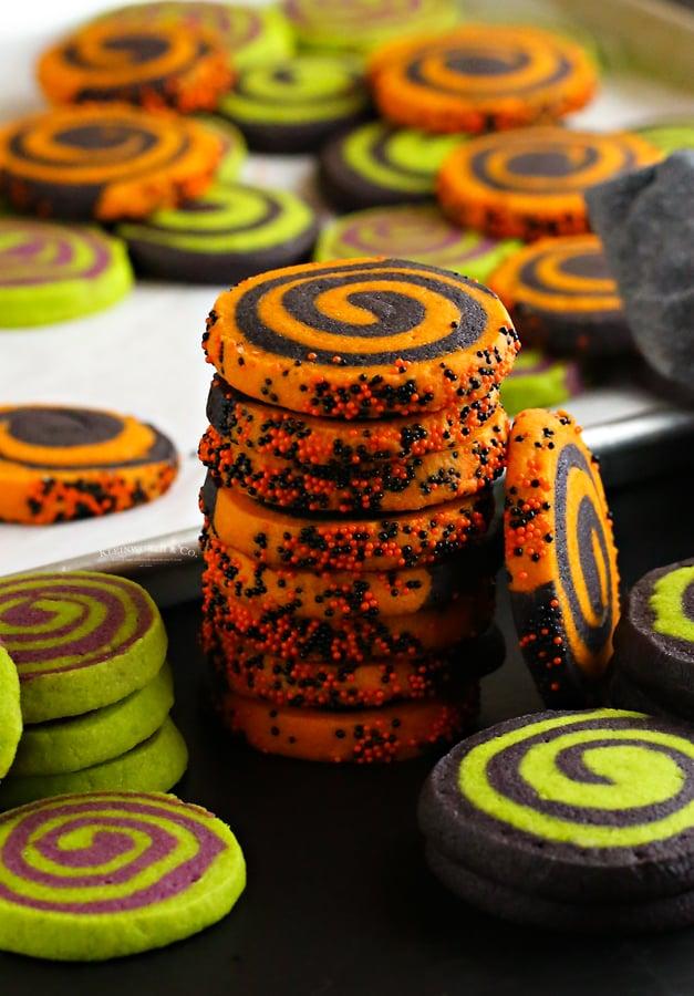 stack of pinwheel cookies