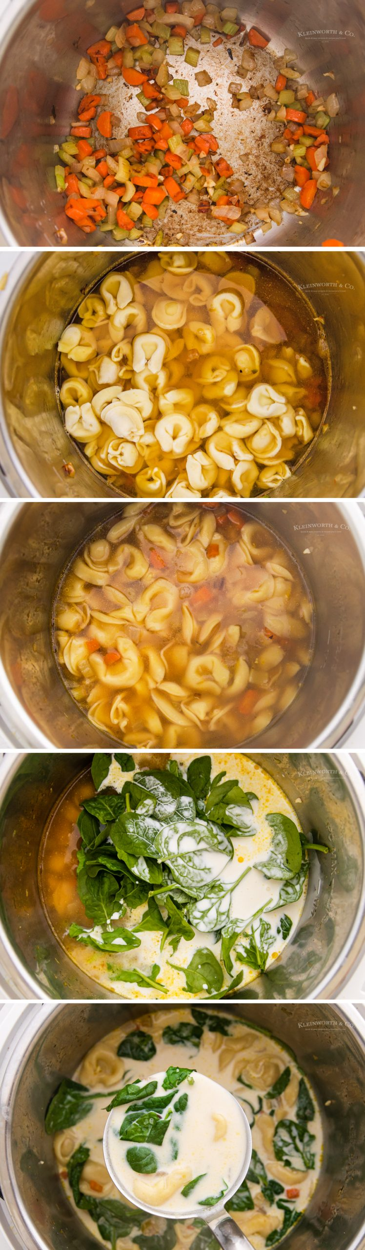 how to make Instant Pot Spinach Tortellini Soup