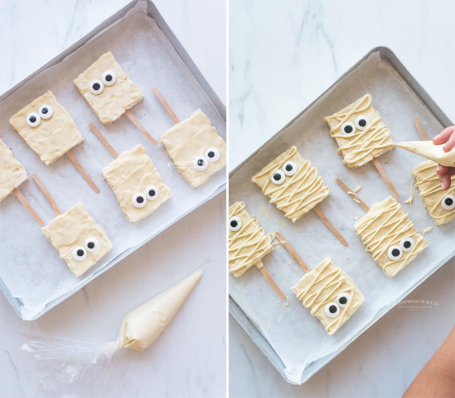 making Mummy Rice Krispie Treats