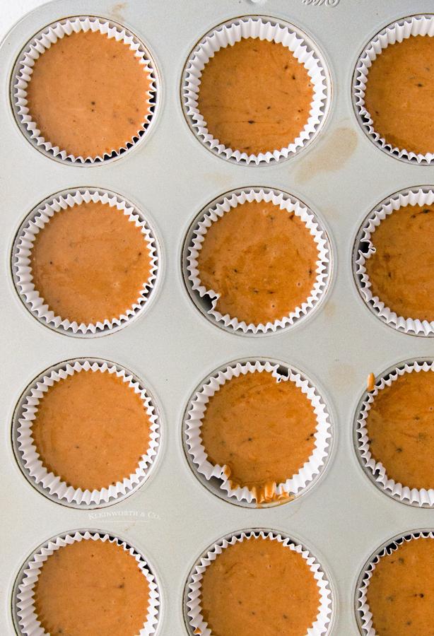 pumpkin cupcakes in the pan