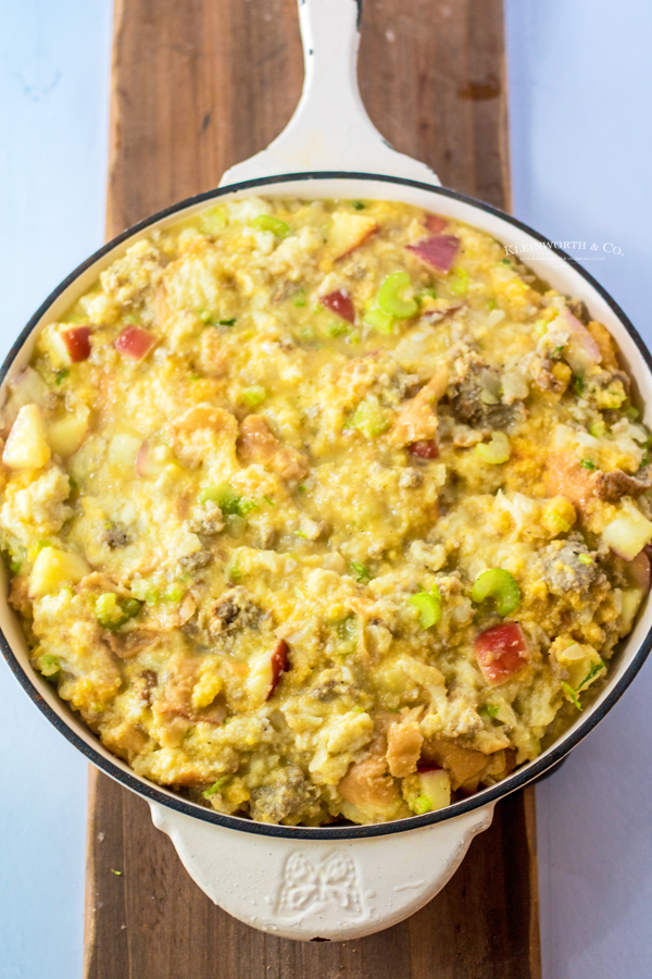 making Apple Stuffing with Sausage