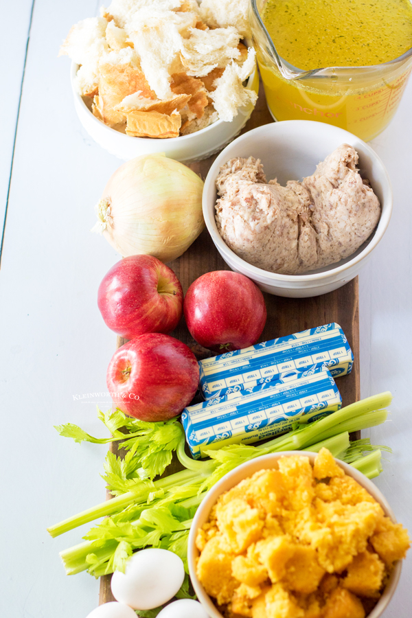 ingredients for Apple Stuffing with Sausage