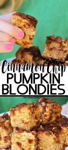 Cinnamon Chip Pumpkin Blondies