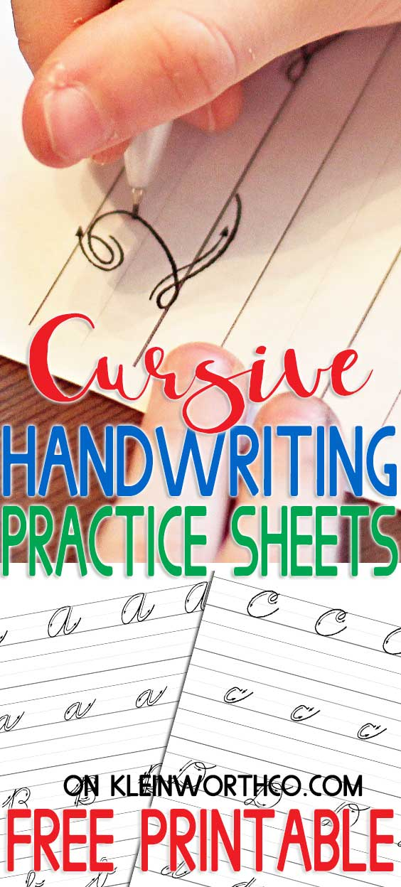 Free Printable Cursive Handwriting Practice Sheets