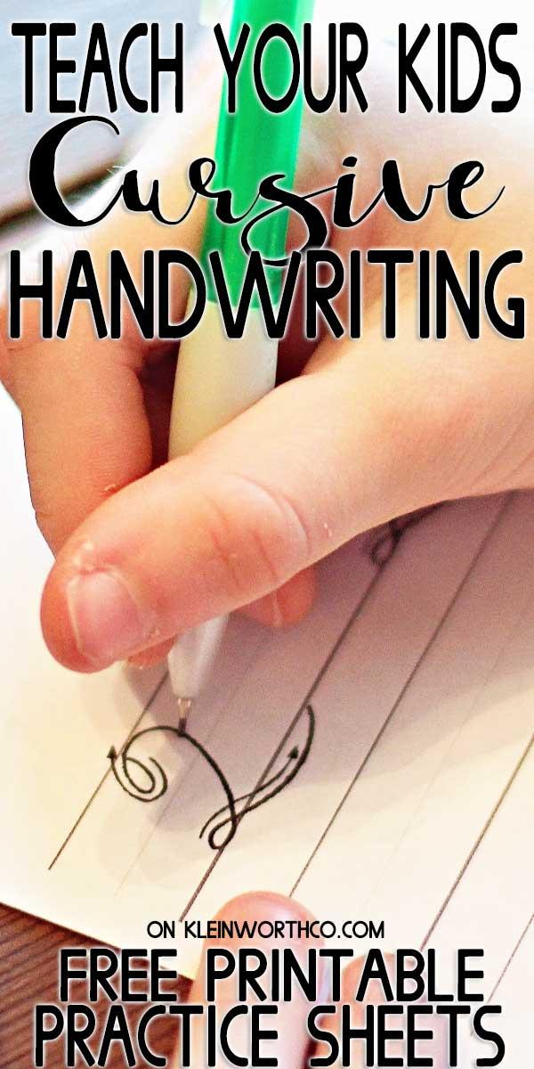 Cursive Handwriting Practice Sheets - Kleinworth & Co