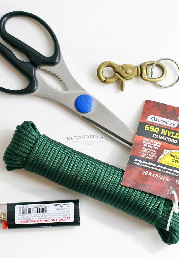 paracord keychain tutorial - supplies needed