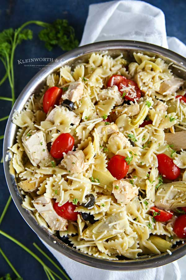 Easy Side Dish - Greek Feta Chicken Pasta Salad