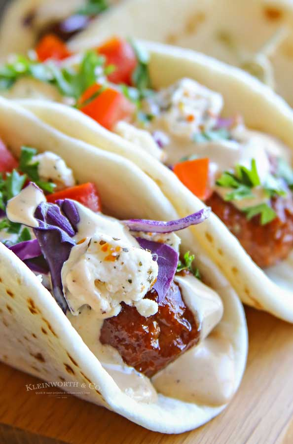 how to make BBQ Meatball Street Tacos