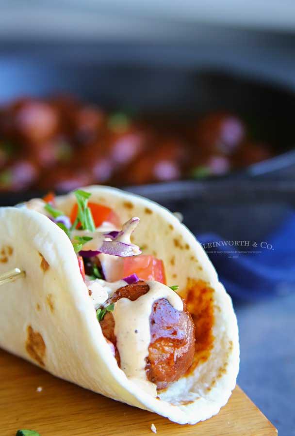 stove top meatballs recipe - BBQ Meatball Street Tacos