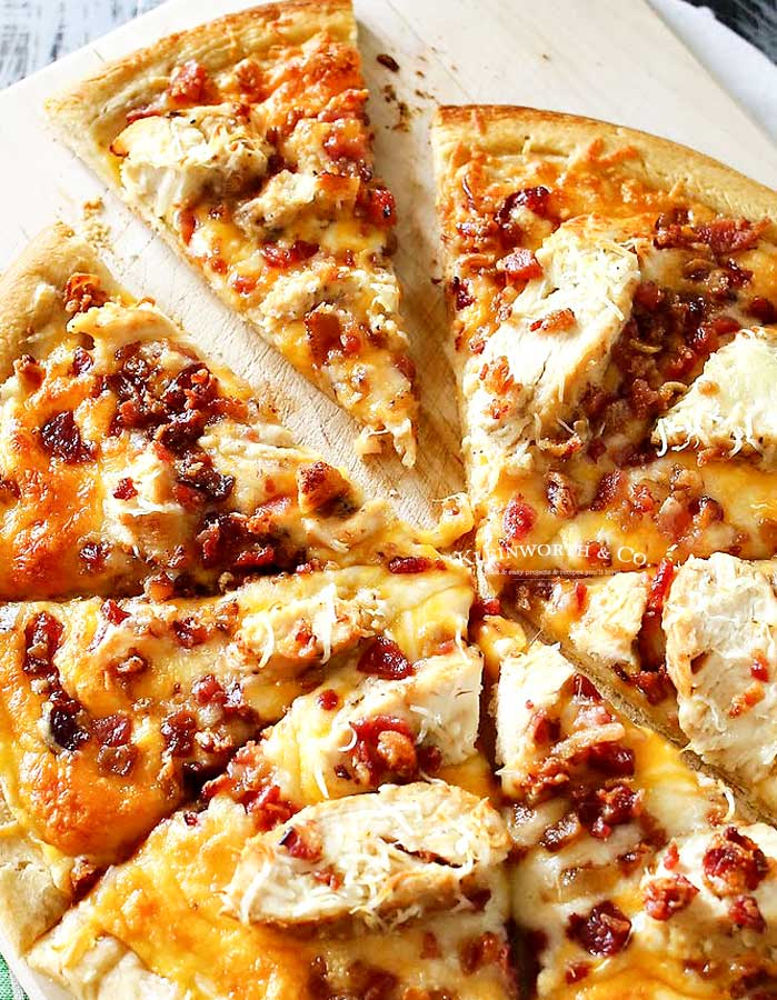 chicken bacon pizza - Grilled Chicken & Bacon Pizza with Garlic Cream Sauce